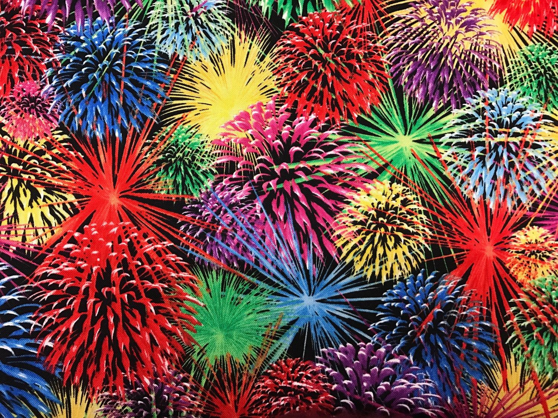 Fireworks Fabric 4th of July fabric celebration fabric   Etsy