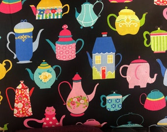 Whimsical teapots fabric, teacup fabric, Alice in Wonderland inspired fabric, English style fabric,