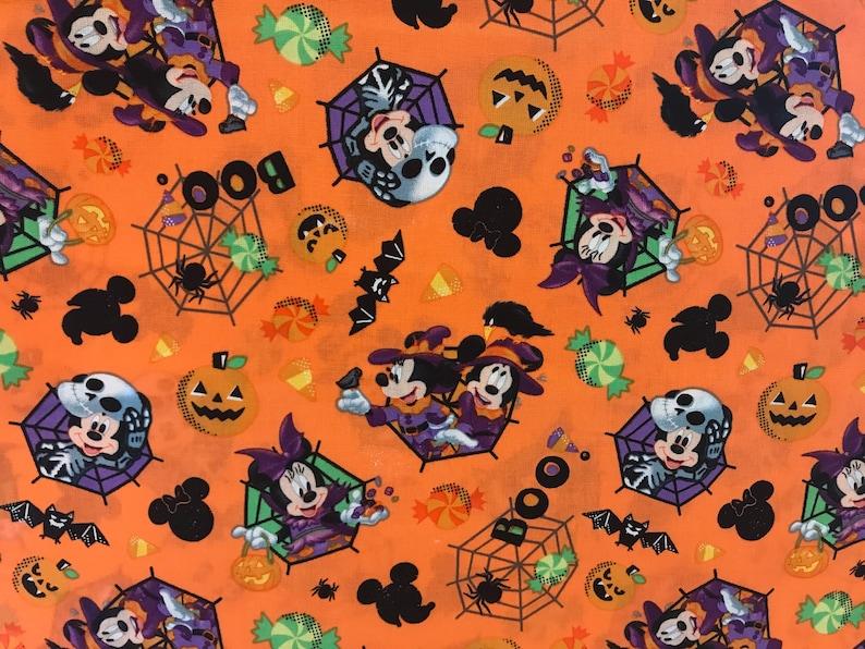Disney Mickey U0026 Minnie Spooky Halloween Fabric, Disney Fabric, Cartoon  Fabric, Halloween Fabric, Mickey Mouse, Pumpkins, Spider Webs