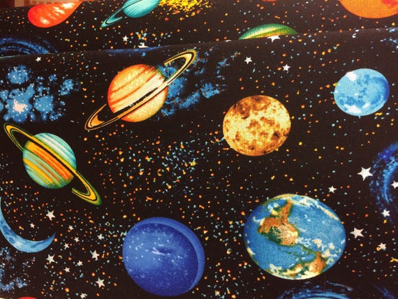 Planets outer space solar system fabric galaxy fabric etsy - Galaxy and planets ...