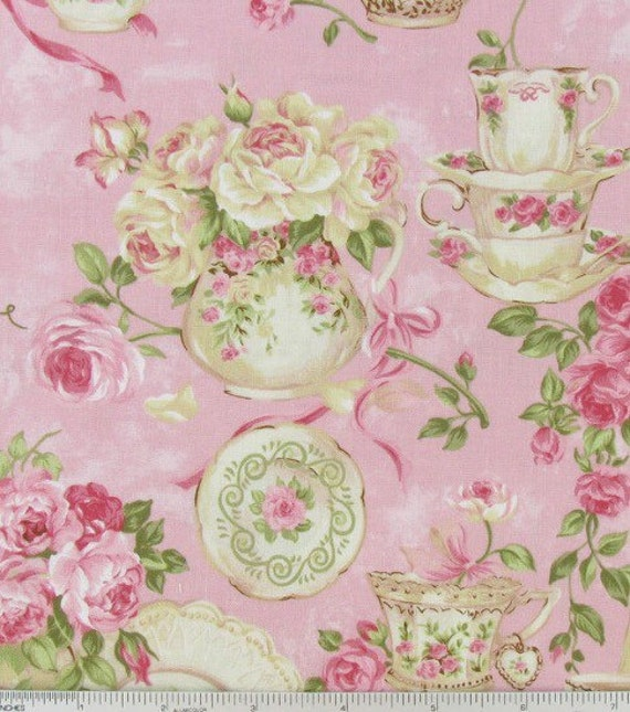 Pink Shabby Chic Style Floral Fabric Rose Garden Teacup