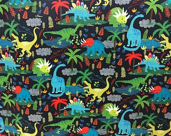 Dinosaur fabric, dino fabric, cotton fabric, dinosaur, archaeology, science