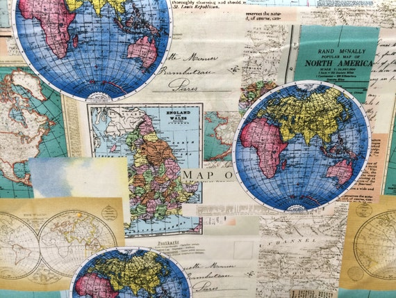Globes world map fabric novelty fabric world map globe globes world map fabric novelty fabric world map globe countries cotton fabric gumiabroncs Gallery