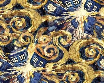 Doctor Who Exploding Tardis Fabric, novelty fabric, BBC fabric, tv show fabric, geek fabric, Dr. Who