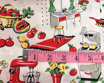 Vintage retro style 1950's kitchen fabric, lady fabric, 50's style fabric, novelty fabric, retro style, retro housewife, Michael Miller