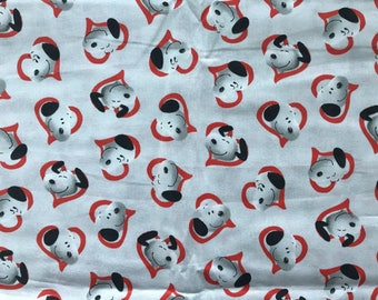 Snoopy red hearts on light gray Valentines Day fabric, Peanuts gang fabric, Charlie Brown fabric, Valentine's Day