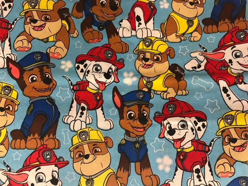Nick Jr  Paw Patrol Fabric featuring Marshall & many more characters,  rescue fabric, cartoon fabric, preschool fabric