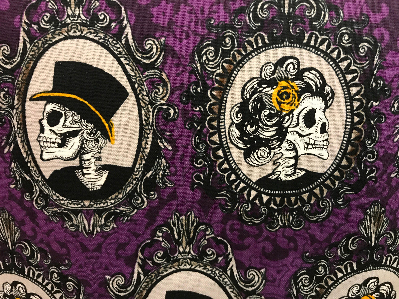Purple Halloween skull vintage steam punk style fabric, haunted ...
