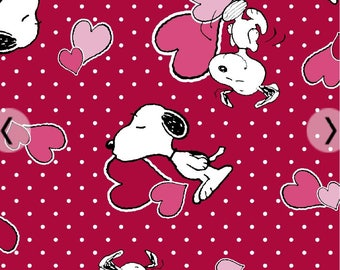 Red Snoopy hearts Valentines Day fabric, Peanuts gang fabric, Charlie Brown fabric, Valentine's Day, Snoopy, cartoon fabric