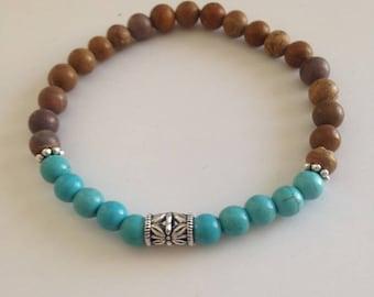 Southwestern Bracelet, Southwestern Jewelry, Turquoise Bracelet, Turquoise Jewelry, Turquoise Silver Bracelet, Jasper Bracelet, Tigerskin