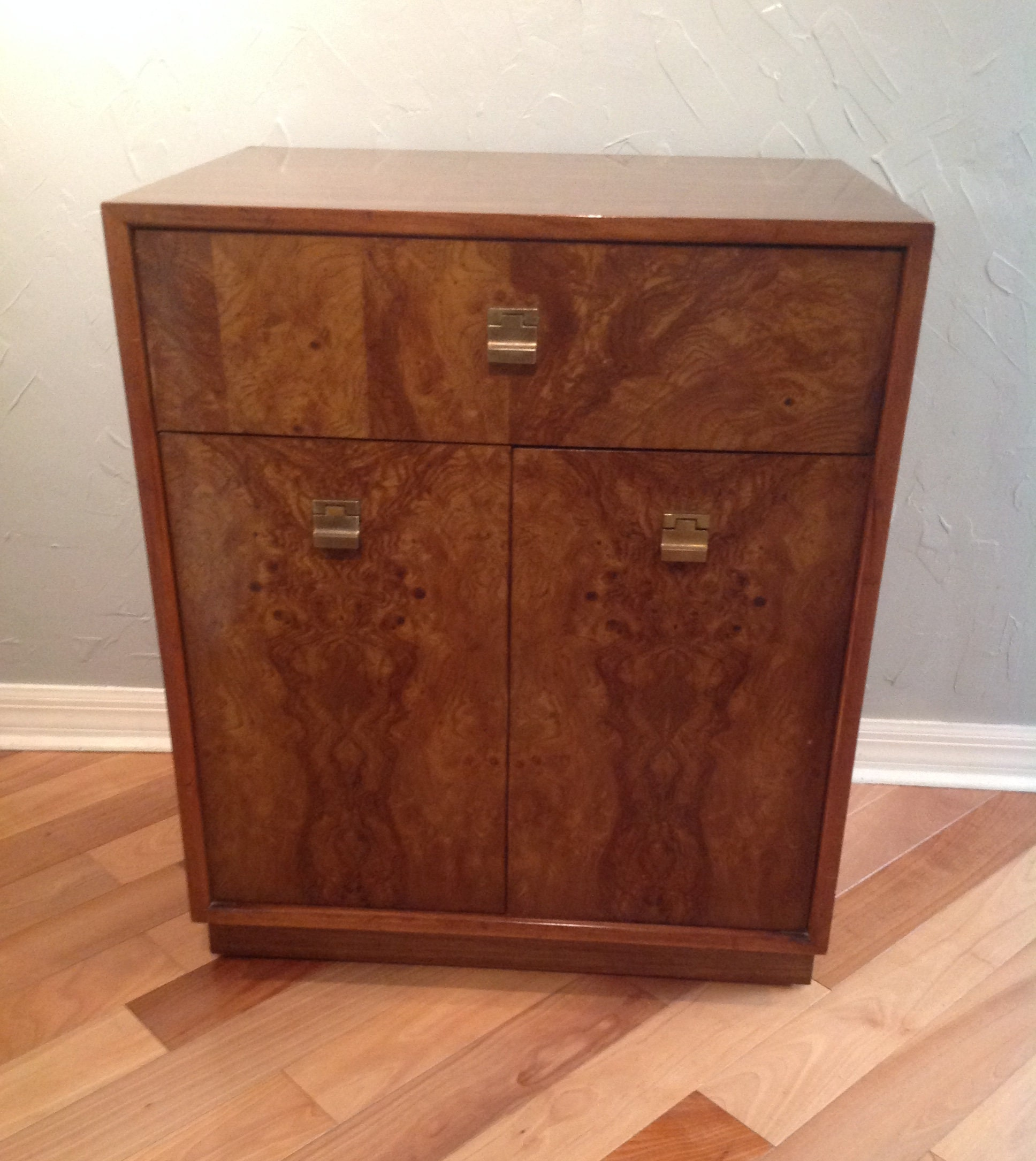 An Edward Wormley Mid Century Modern Burl Wood Cabinet