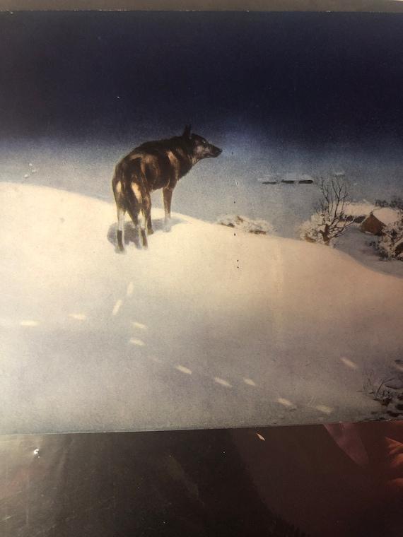 Wolves dark snowy river by Alfred Kowalsky-Wierusz vintage art