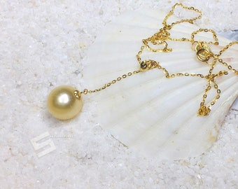 Genuine South Sea Pearl Choker Baroque Golden Pearl Stackable Necklace, Saltwater Golden Pearl And 14K Gold Filled Floating Necklace