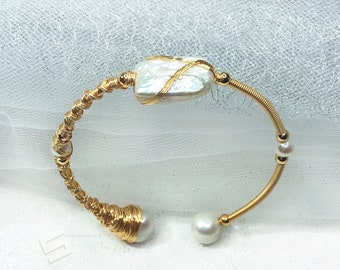 83dcdb492 Baroque Pearls And Gold Bangle, Multi Szies Freshwater Cultured Pearls In  14K Gold Filled Wiring Bracelet, Biwa Pearl Gold Filled Bracelet