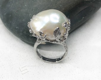 Adjustable FlameBall pearl Ring Handmade jewellery Huge White pearl Baroque pearl Ring 925 Sterling Silver Freshwater Natural pearl ring