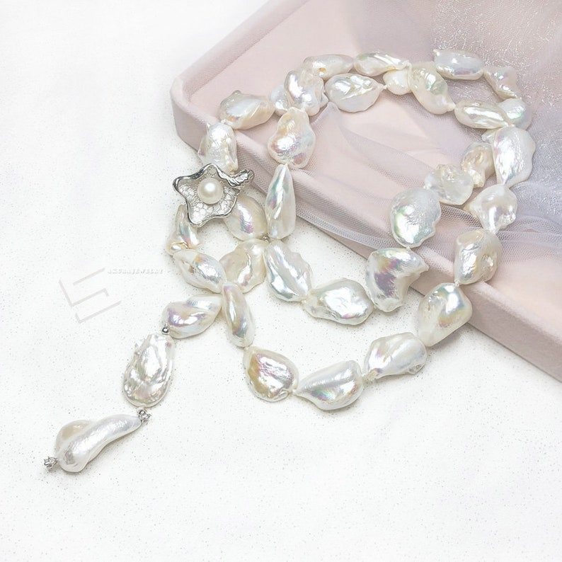 High quality 18 Inch huge color AAA 15-25mm south sea baroque pearl necklace