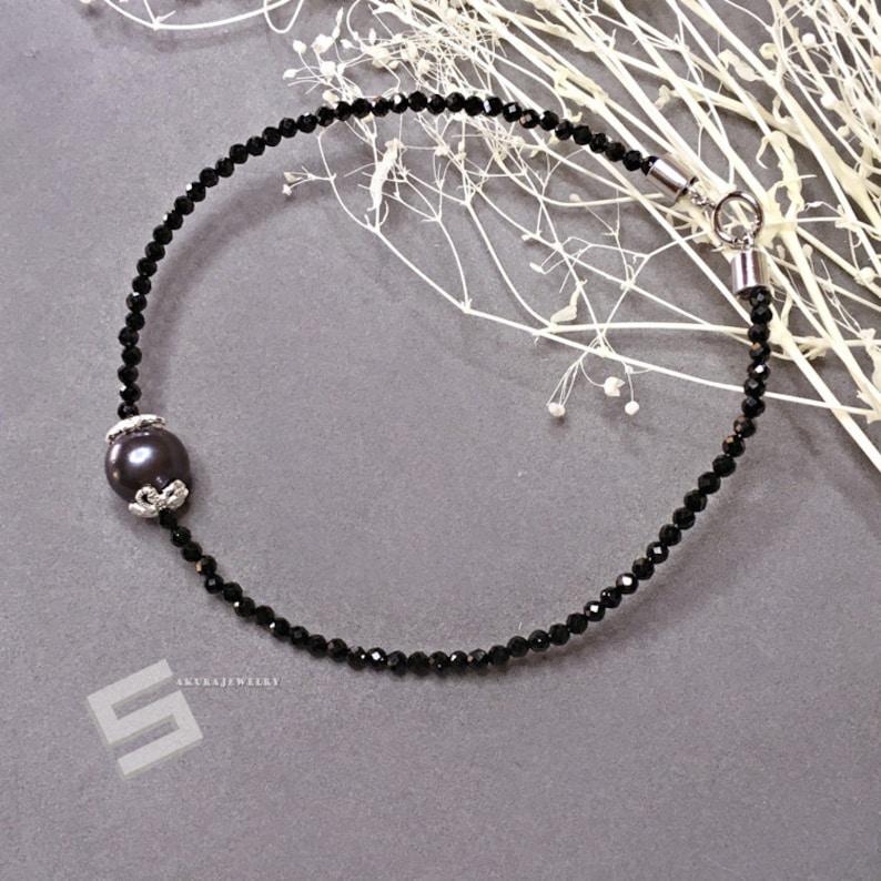 Black Spinel Jewelry Tiny Black Gemstone Skinny Stacking Bracelet Delicate Black Spinel Bracelet With Black Pearl In Sterling Silver