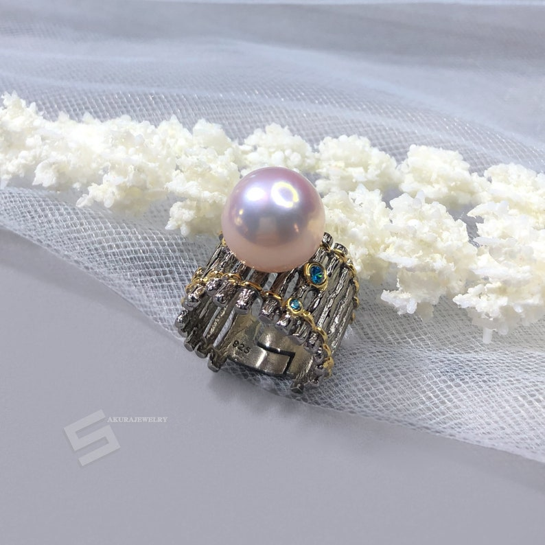 Big Kasumi Like Pearl Chunky Black Silver Cocktail Ring 13MM Kasumi Pearl In Silver Statement Ring Real Cultured Pearl Silver Boho Ring