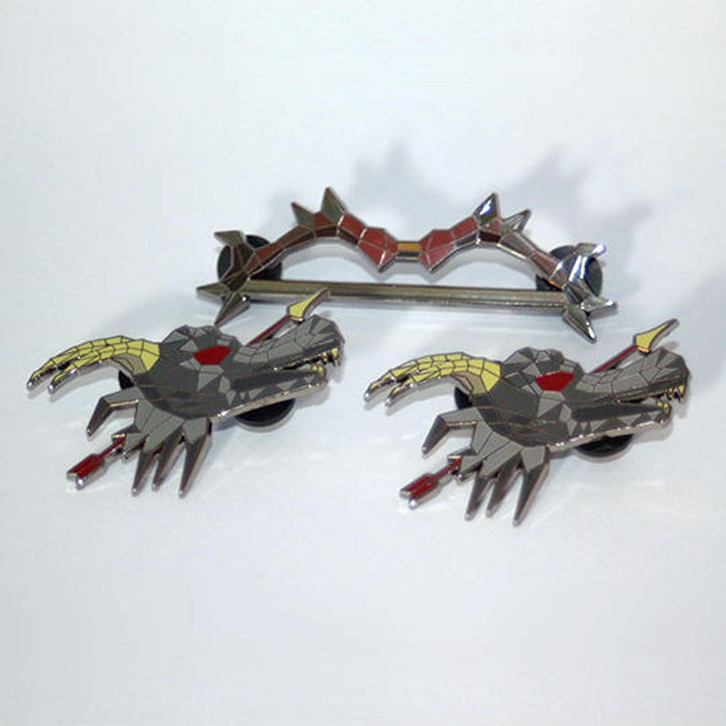 Dark Bow & Dragon Arrow OSRS Pin Set