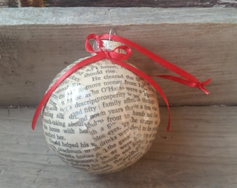 Gone with the Wind book pages Christmas ornament, vintage Gone with the Wind