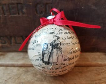 Little House on the Prairie vintage book pages Christmas ornament, vintage Laura Ingalls Wilder ornament