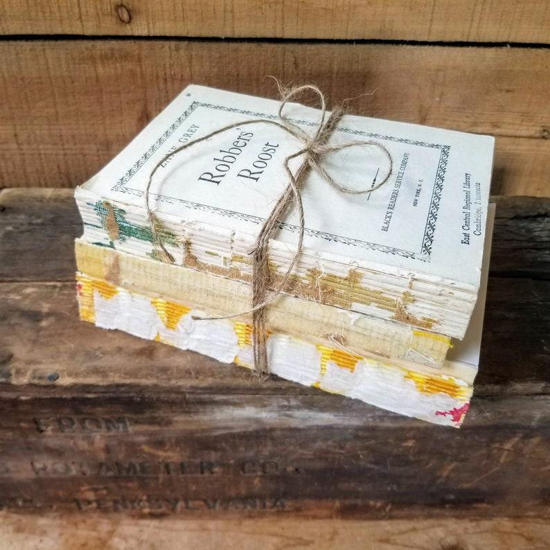 Distressed book set French country decor shabby chic image 0