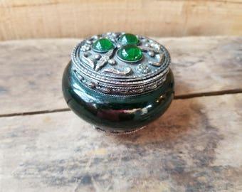 Trinket box vintage, silver and green small trinket box