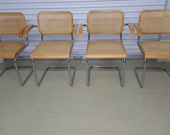 Set Of 4 Vintage Cesca Chairs All Armchairs Very Good Condition Signed  Nice! Cantilevered Armchairs