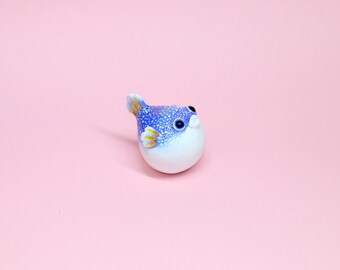 Little Sapphire Puffer Fish Polymer Clay Figurine