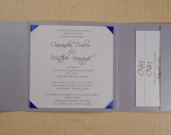 Royal Blue And Silver Wedding Invitation, Royal Blue and Silver Invitation, Royal Blue Wedding Invitation, Ribbon Corners Wedding Invitation
