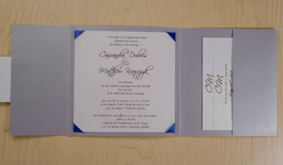 Royal Blue And Silver Wedding Invitation Royal Blue And Etsy