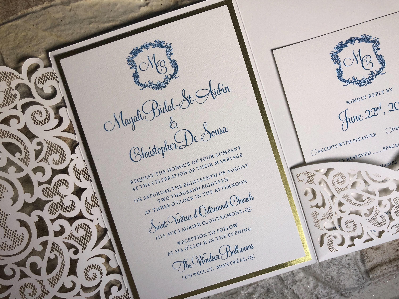 lasercut pocket fold invitation, lasercut folder, lasercut wedding ...