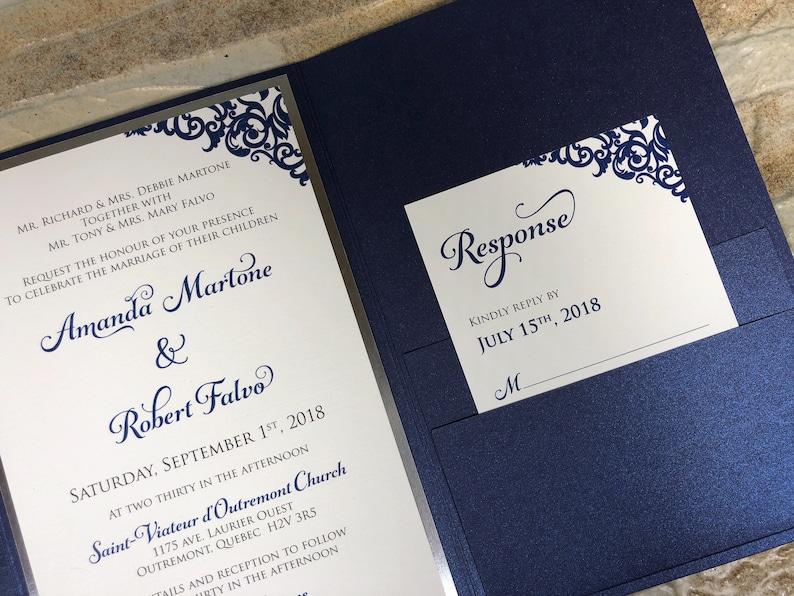 Navy Wedding Invitation Custom Wedding Invitation Navy Etsy