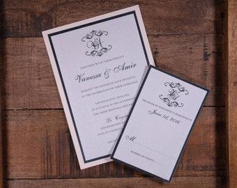 Blush Wedding Invitation, Beautiful wedding Invitation, Blush Wedding Invitations, Baroque wedding Invitations, custom wedding invitations