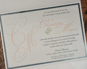 Pastel Wedding Invitation, Wedding Invitation, Pocketfold Invitation, Peach Invitation, Invitation suite, classy invitations, invitations