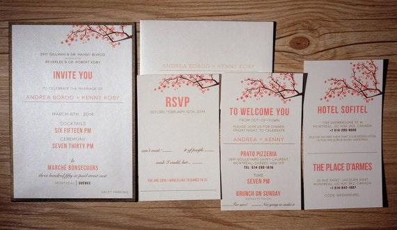 cherry blossom wedding invitations peach wedding invitation etsy