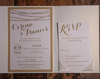 elegant and rustic wedding invitations, String Of Lights Invitation, String Of Lights, String Of Lights Wedding Invitations, Rustic elegance