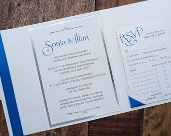 Royal Blue Wedding Invitation, Royal Blue Invitation, Royal Blue Ribbon Invites, Elegant Wedding Invitation, Silver Foil Wedding Invitation
