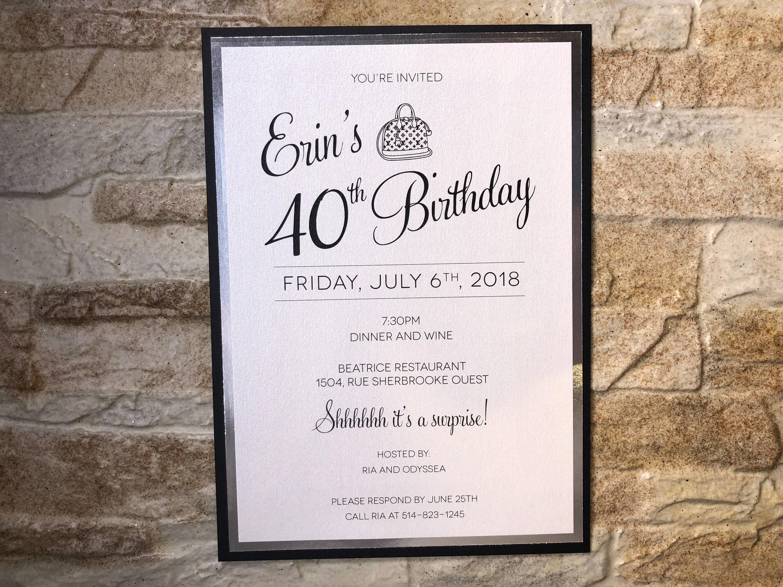 Birthday Invitation Party Surprise Invitations 40th Custom Personalized