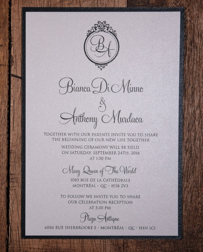 Black Tie Wedding Invitations Black Tie Invitations Formal Etsy