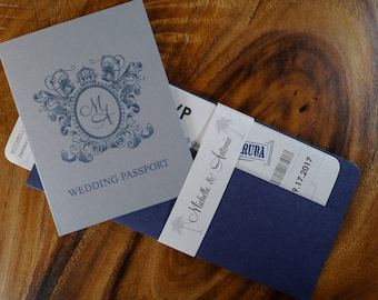 Crest Passport And Boarding Pass Combination Invitation, Regal Passport and Boarding Pass Invitation, Navy Blue Boarding Pass Invitation