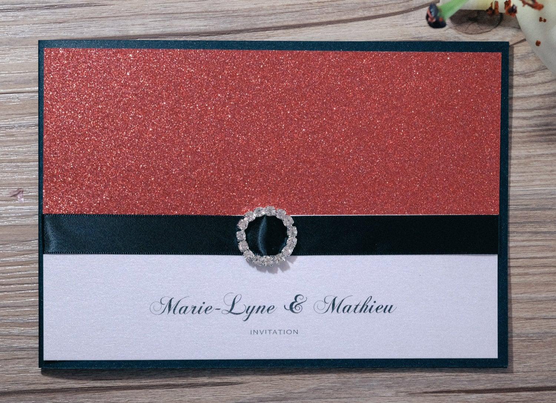 Glitter Wedding Invitation Glitter Wedding Invitations | Etsy