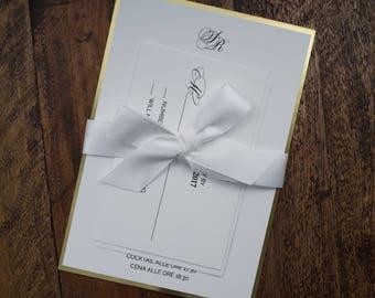 White Invitation, White Wedding Invitation, Upscale wedding Invitation, White And Gold Wedding Invitation, White And Gold Invitation