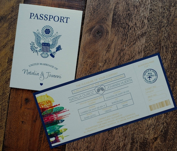 Spanish Destination Boarding Passport Invitation Pass And Barcelona Invitation Travel