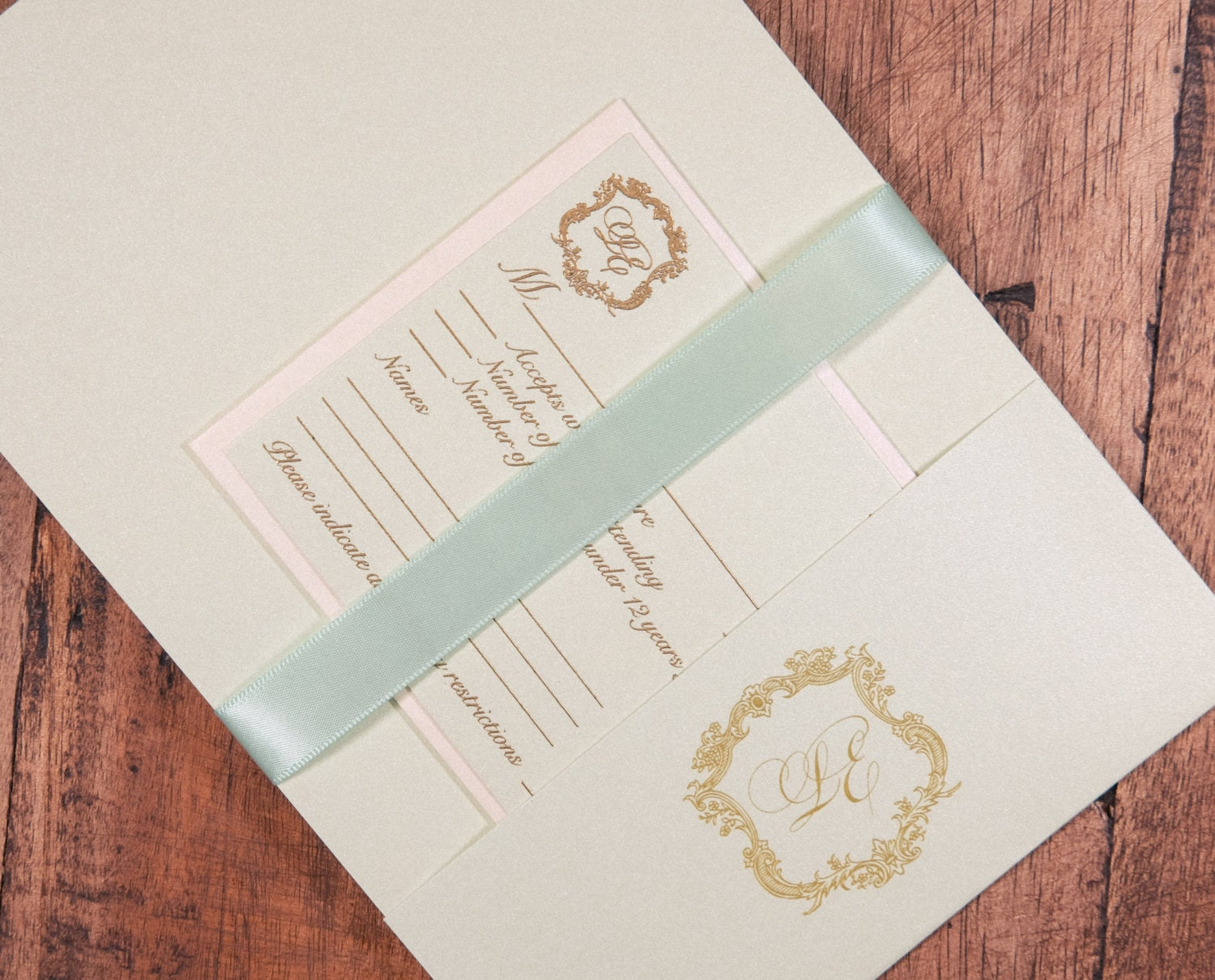 Mint and Gold Wedding Invitation, Mint and Gold Invitation, Mint and ...