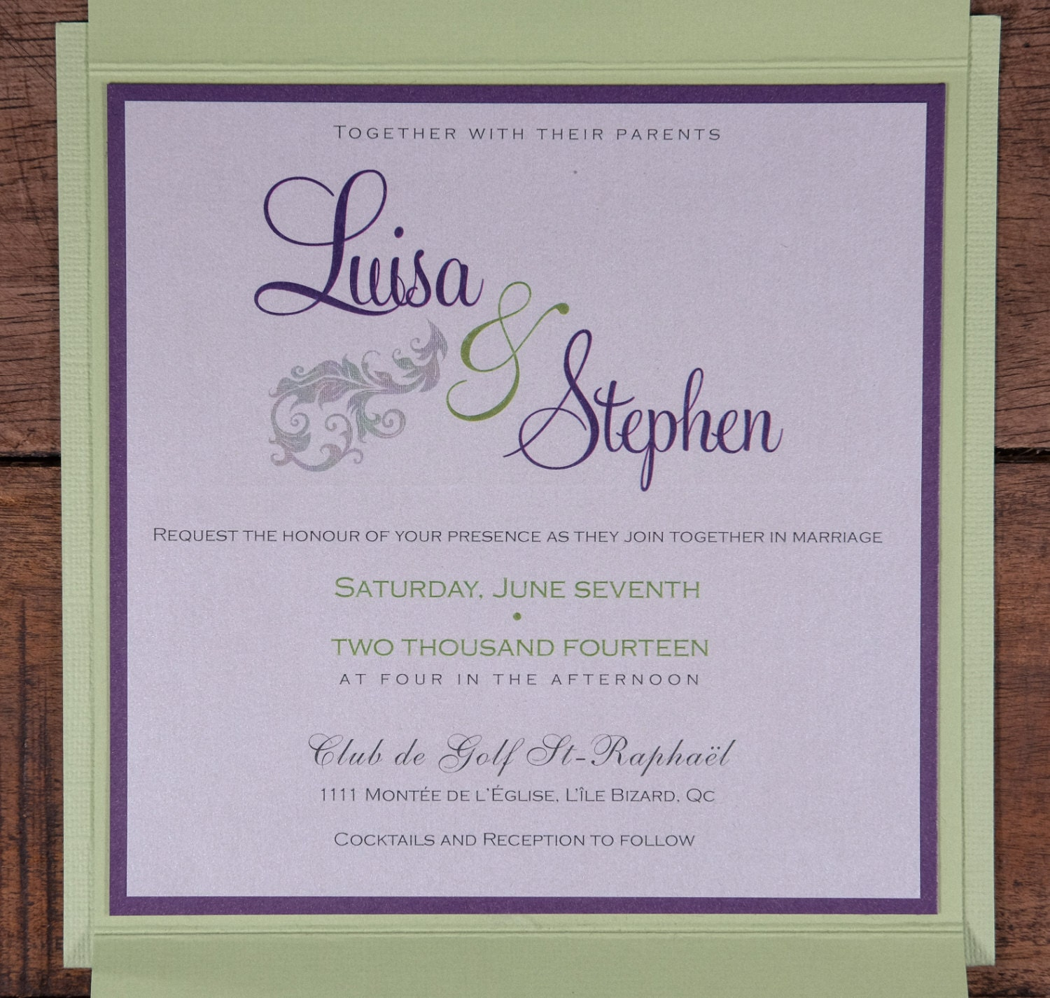 Lime Green and Purple Wedding Invitations, Lime Green and Purple ...