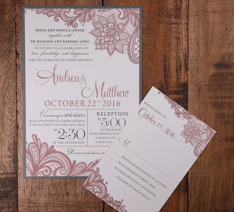 Vintage Pink Wedding Invitation, Lace Wedding Invitation, Lace ...