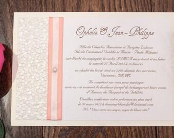 cream pebble wedding invitation, coral ribbon wedding invitation, peach invitation, peach wedding invitation, pebble wedding invitations