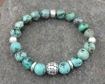 Bracelet beads of African Turquoise, Bali silver bead and Pearl in Ohm 925 sterling silver