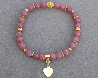 Beaded bracelet Ruby 6mm with these beads and Vermeil and Gold filled findings